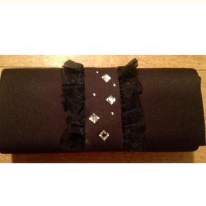 Nina Vintage Black Satin Rhinestone Clutch Bag